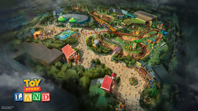 Toy Story Land at Disneys Hollywood Studios in Florida -- The reimagining of Disneys Hollywood Studios will take guests to infinity and beyond, allowing them to step into the worlds of their favorite films, starting with Toy Story Land. This new 11-acre land will transport guests into the adventurous outdoors of AndyÕs backyard. Guests will think they've been shrunk to the size of Woody and Buzz as they are surrounded by oversized toys that Andy has assembled using his vivid imagination.  Using toys like building blocks, plastic buckets and shovels, and game board pieces, Andy has designed the perfect setting for this land, which will include two new attractions for any Disney park and one expanded favorite. (Disney Parks)