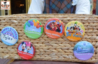 Cast Members with celebration buttons on main street.