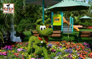 DNP April 2016 Photo Report: Epcot Flower and Garden Festival Pluto in the Kids Play Area - the Harmany Garden.
