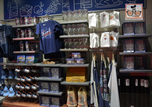 Epcot Food and Wine Festival 2017 merchandise on the walkway between Future World and World Showcase