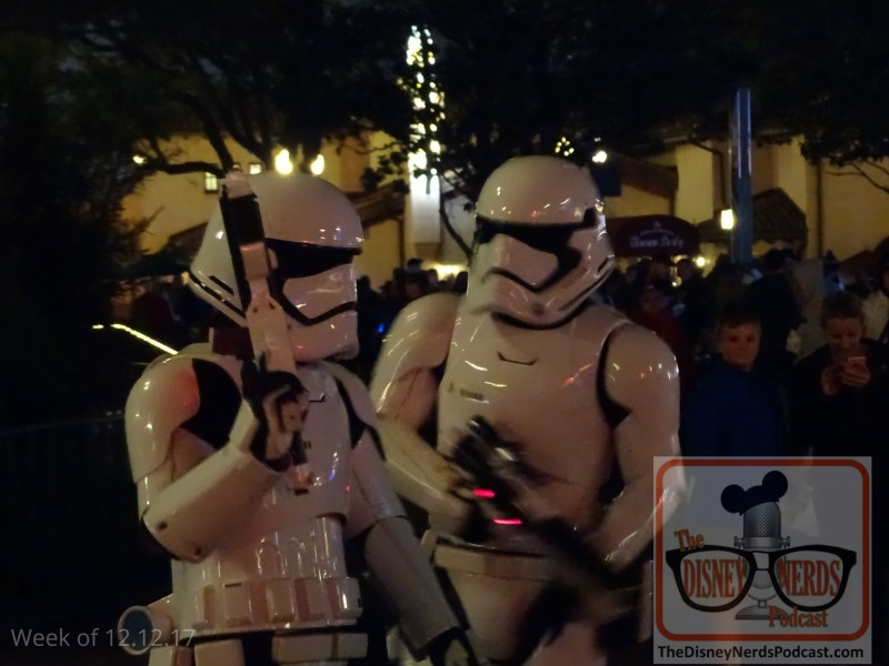 Have a family member aspiring to be a First Order Stormtrooper? Then hurry over to the left side of Center Stage at some time during your park visit. First Order Stormtroopers are positioned here recruiting rookies to join the ranks of the First Order. What a great photo opportunity with the troopers between their roving patrols.