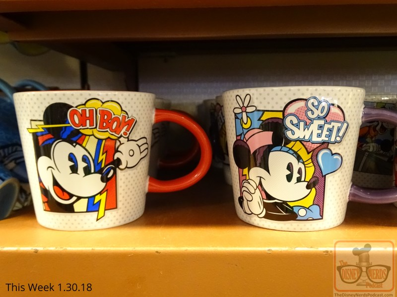 In search of a new Disney beverage mug? Head over to the Five and Dime store. Neat new designs include Mickey's Surfing Company, Captain Hook, as well as Mickey and Minnie enjoying the attractions. These are great gift ideas for that sweetheart on Valentine's Day. Additional V- Day merchandise is available in all the Park stores as well.