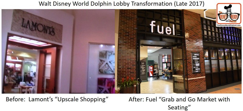 Walt Disney World Dolphin Lobby Transformation - Before and After Lamont's vs Fuel