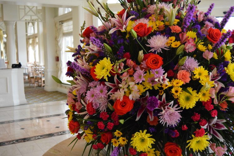 Grand Floridian Cafe flowers by the entrance