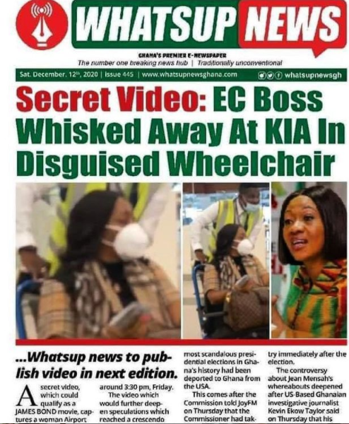 EC Chairperson, Mrs Jean Mensa Reportedly Disguises Herself As A Sick Person On A Wheelchair Before Traveling Outside Ghana | Details