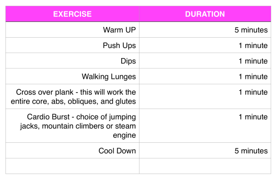 workout 101 table