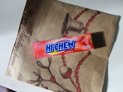 Strawberry Hi-Chews! These are inexpensive chewy fruit candy.