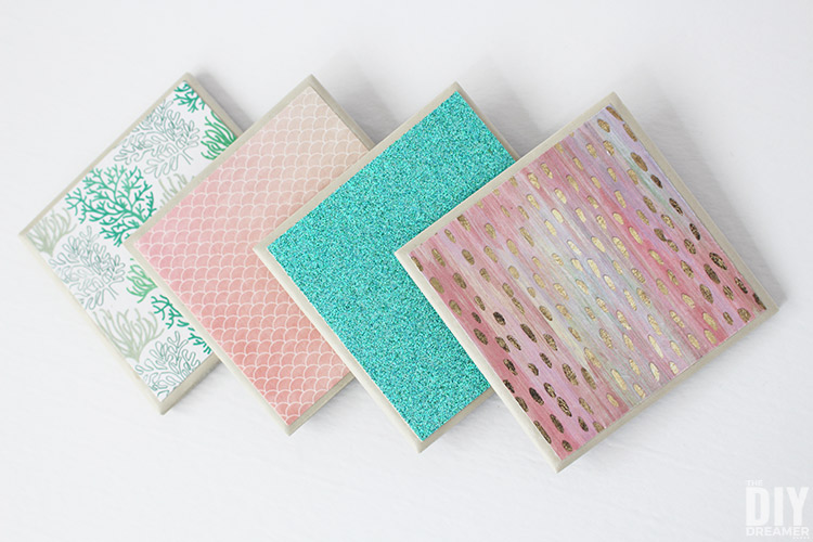 diy mermaid tile coasters
