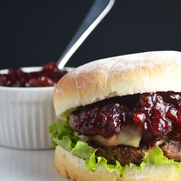 Burgers with Cranberry BBQ Sauce