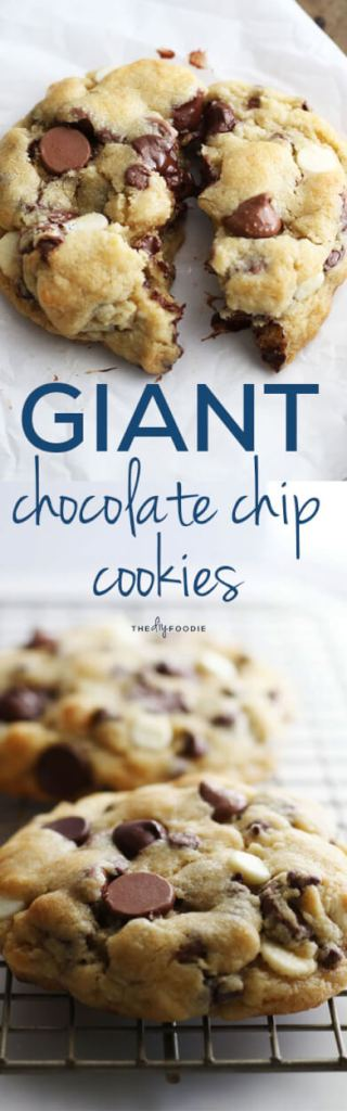 Giant Chocolate Chip Cookies with 4 kinds of chocolate!
