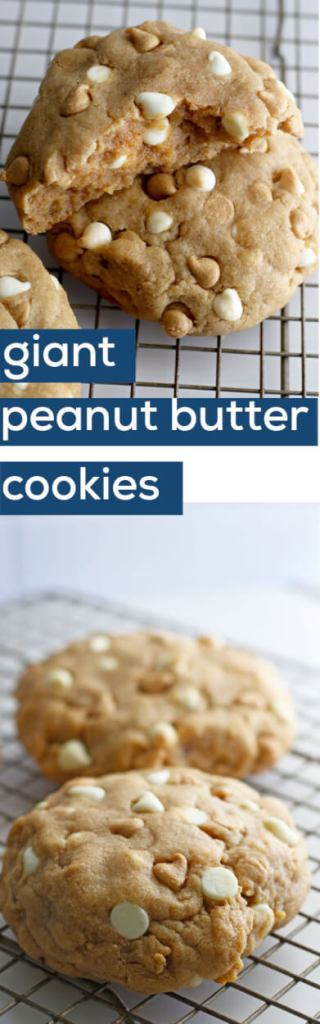 These giant peanut butter cookies with white chocolate are amazing!!