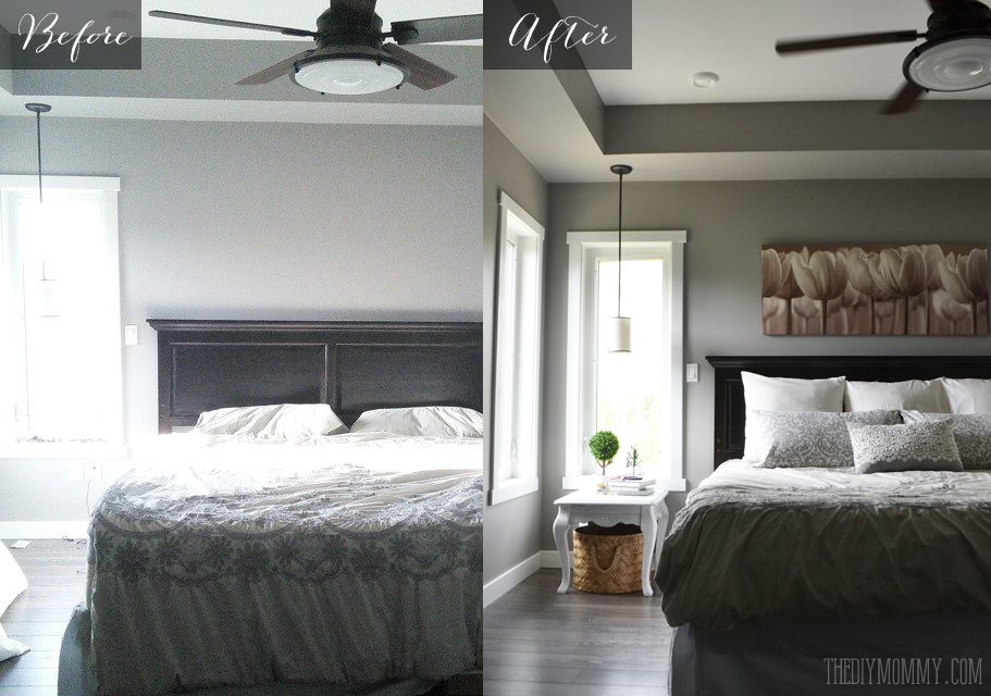 A grey and cream master bedroom design with DIY pillow ...