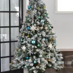 Our Teal Green Silver And White Vintage Inspired Flocked Christmas Tree The Diy Mommy