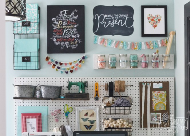 A Beautiful Colorful Craft Room Office Wall With Pegboard For Storage Baskets