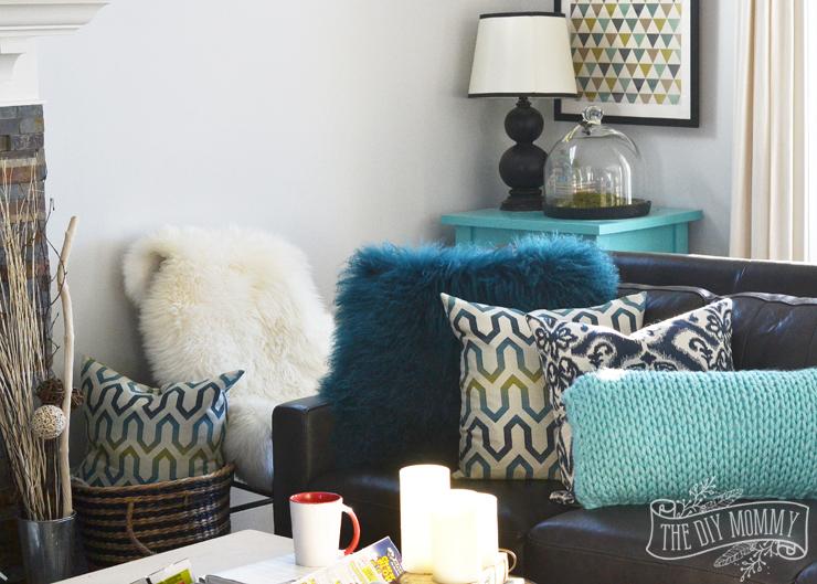 Teal Blue Leather Sofa