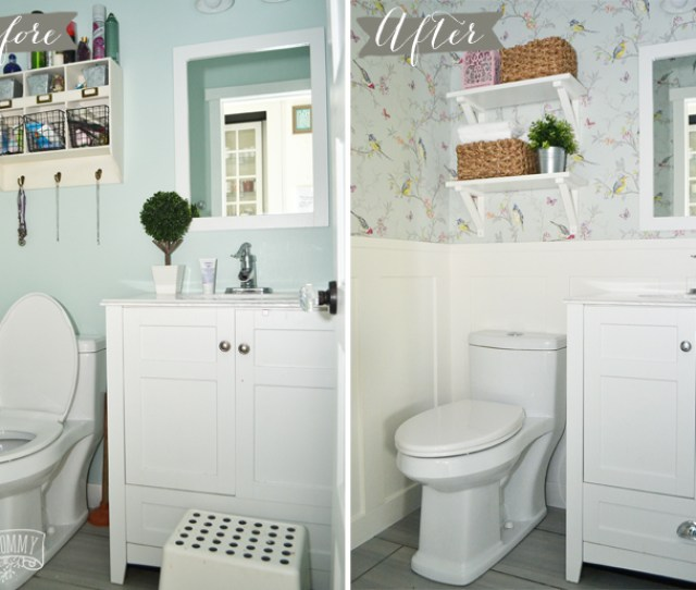 A Diy Powder Room Makeover With Chinoiserie Inspired Bird Floral Wallpaper And Board And Batten