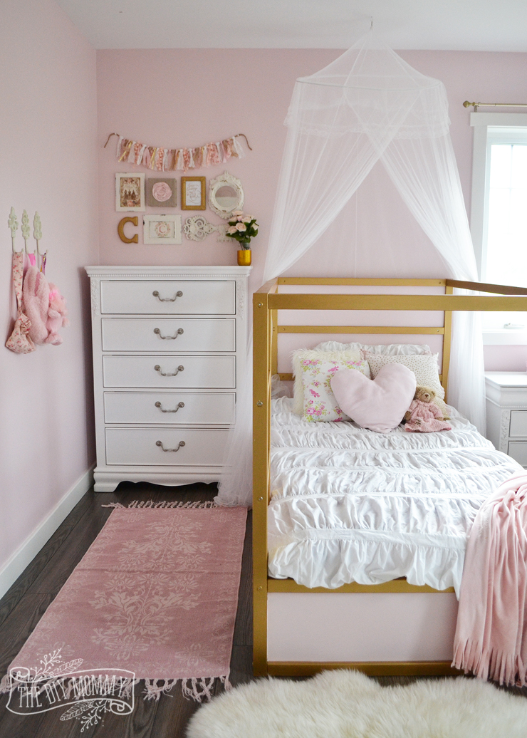 a pink, white & gold shabby chic glam girls' bedroom reveal