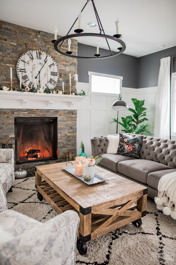 A Cozy, Rustic Glam Living Room Makeover for Fall | The ... on Rustic Traditional Decor  id=82934