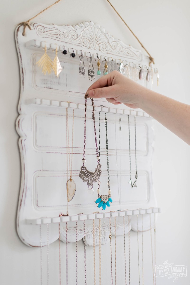 DIY Jewelry Organizer from a $5 Thrifted Spoon Rack