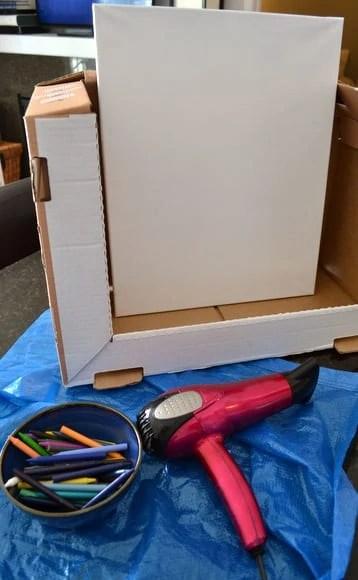 Crayon painting setup