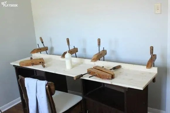 Wood Clamps on desktop