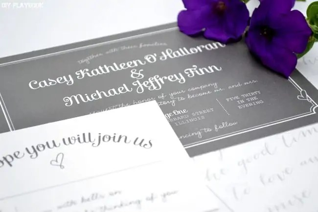 Purple-Flowers-Gray-Invitation
