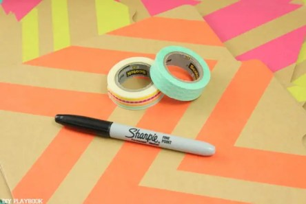 washi tape and marker