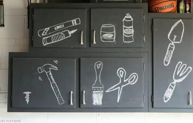 chalkboard cabinets garage