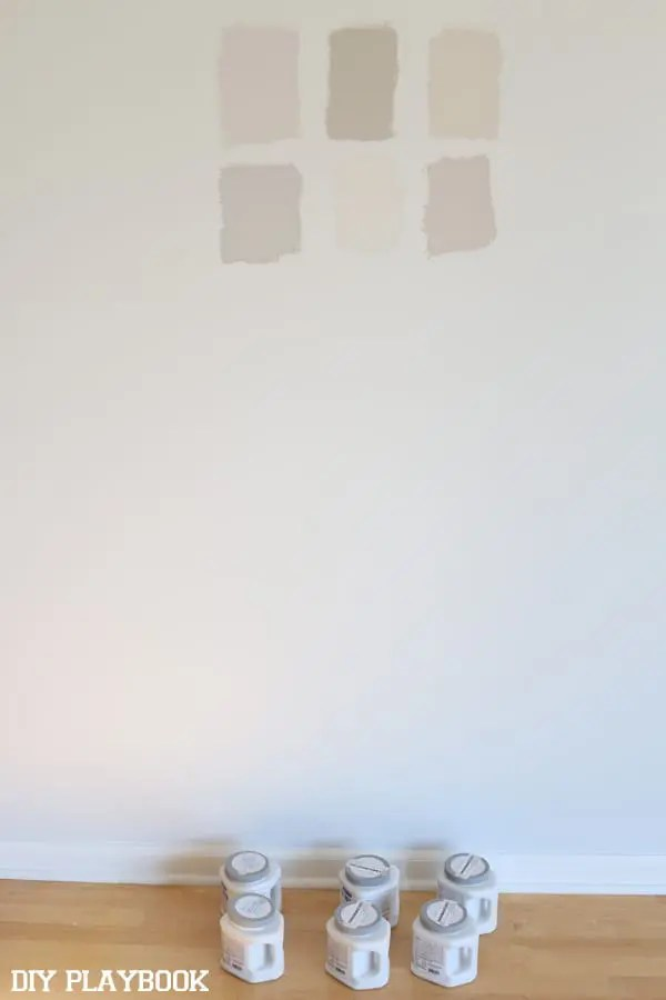 gray paint samples on augusta wall