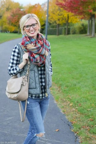 bridget-plaid-scarf-vest-glasses-laughing