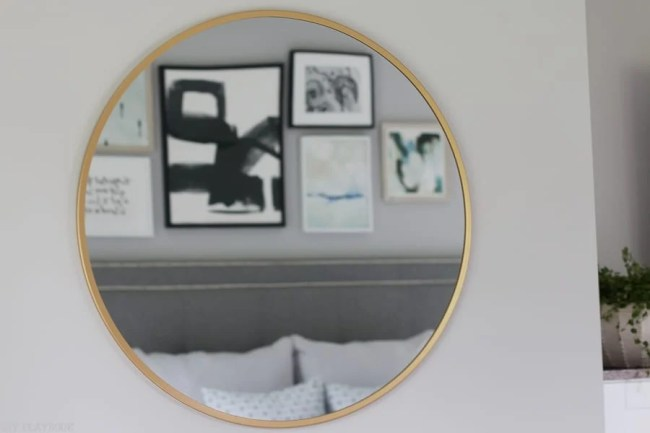 lowes-makeover-bedroom-reveal-round-mirror-gallery-wall