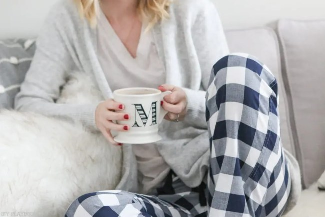 buffalo-check-pajama-pants-coffee-mug