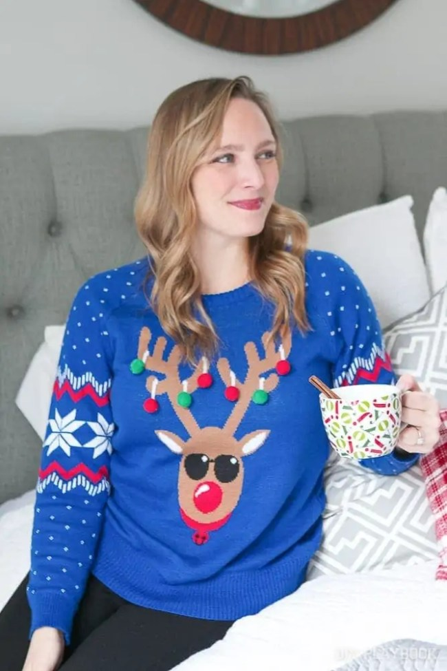 casey-ugly-sweater-bedroom-hot-coco