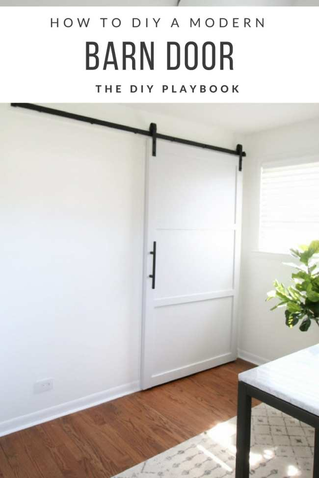 how to build and hang a diy barn door on a budget in your home. Black Bedroom Furniture Sets. Home Design Ideas
