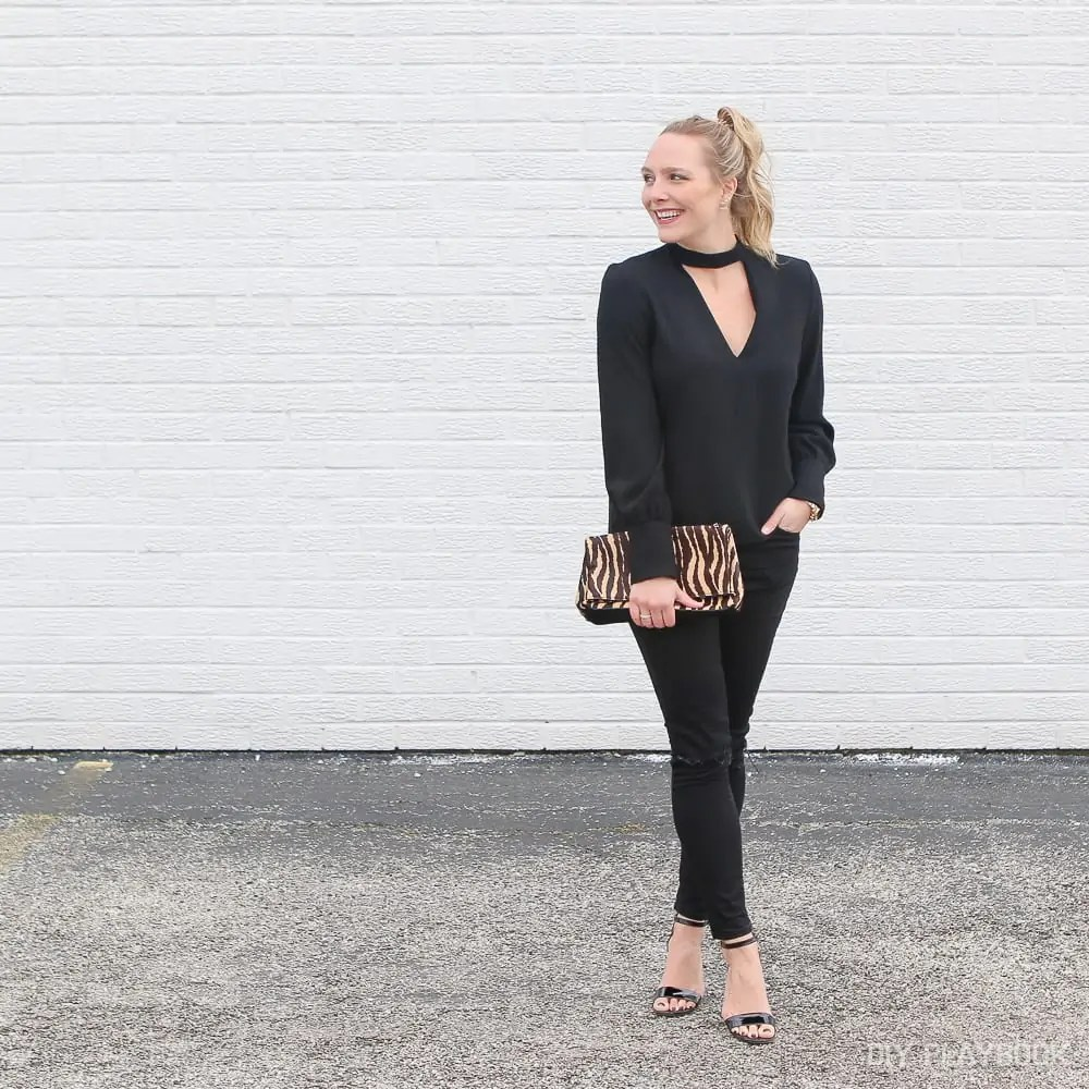 A Night Out - All Black with Leopard Print