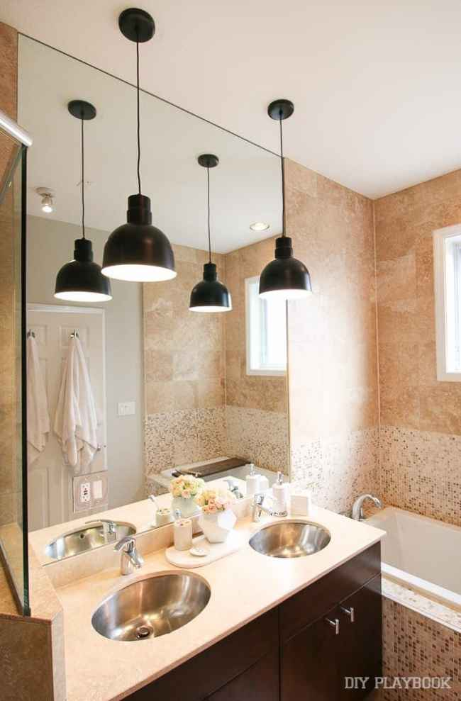 bathroom pendant lighting. The New Contemporary Pendant Lights in our Master Bathroom