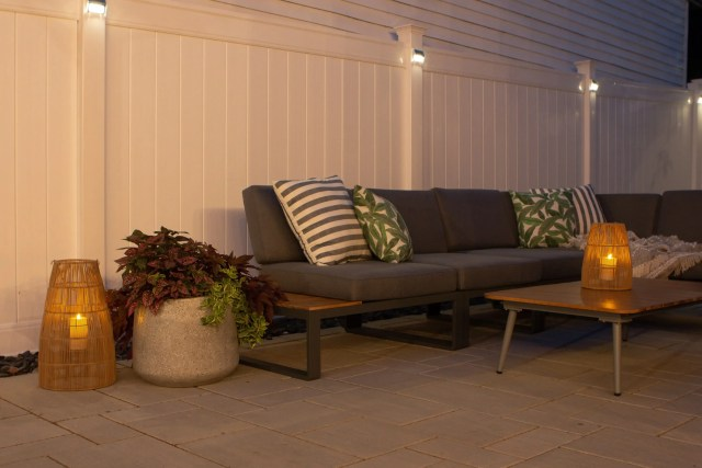 Our outdoor sectional at night