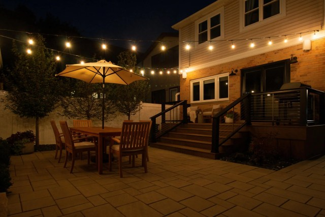 Our backyard makeover reveal at night