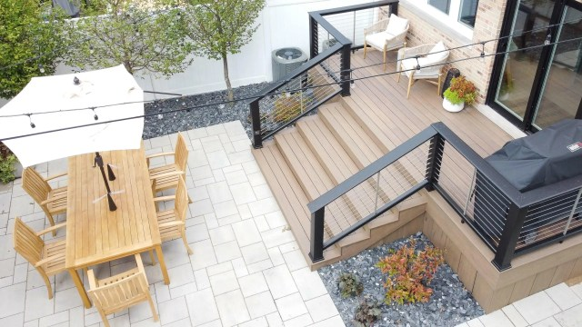 building an open deck down to the patio