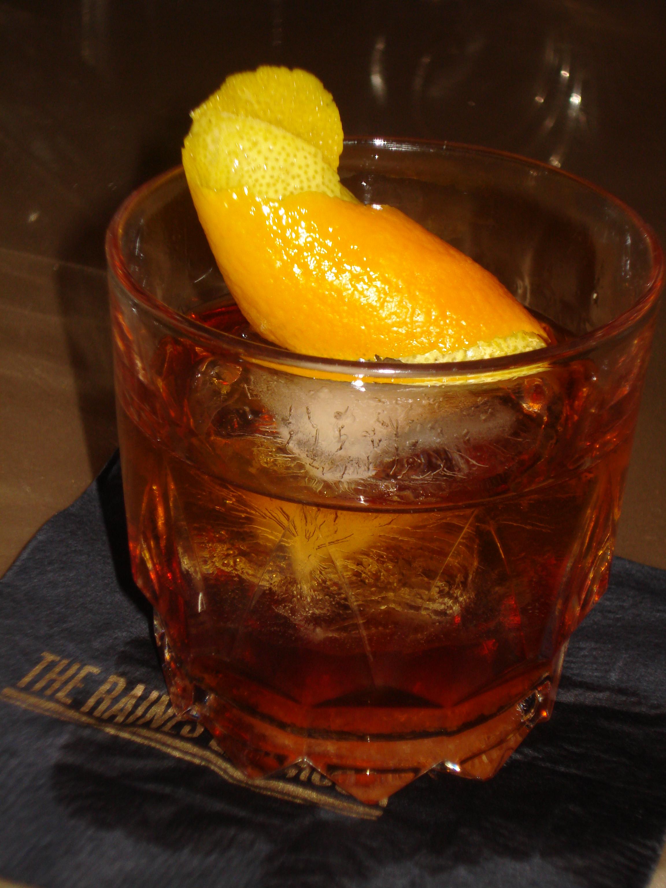 "Meaghan Dorman's ""Amber Old-Fashioned"" with Zacapa 23, Elijah Craig 18, angostura bitters, peach bitters, and demerara sugar cube."