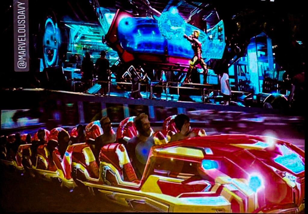 Iron Man roller coaster trains
