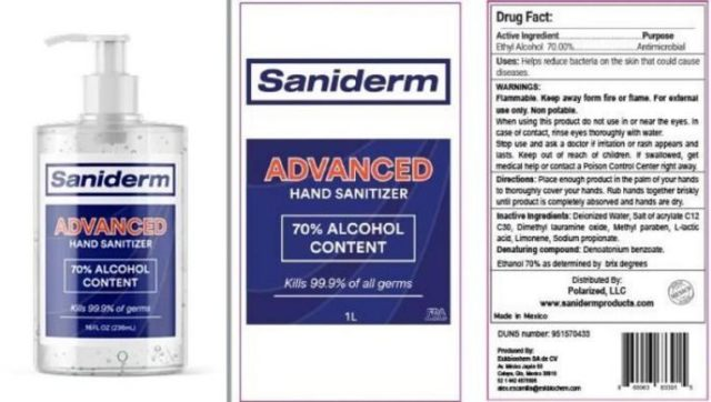 Saniderm Advanced Hand Sanitizer recalled over potential toxic chemicals.