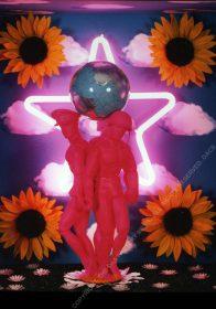 HEROIC [Detail] Plastics, 4 x 360 Motors, Neon, Paper Collage, Fabric Flowers, Artificial Grass, Glass, Paint. 110 x 110 x 60 cm. 1996. 1/1
