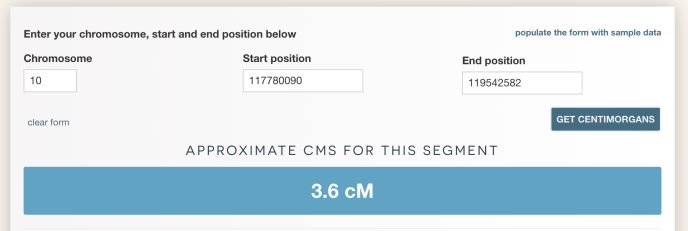 Image from the centimorgan estimator with a segment of 3.6 cM.