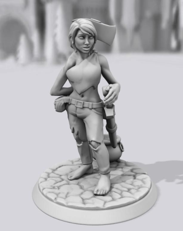 Barbarian female created using Hero Forge