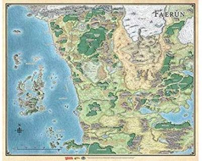 Topographic full color map of fictitious D&D world
