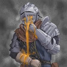 Vomit pouring through a knight's helmet