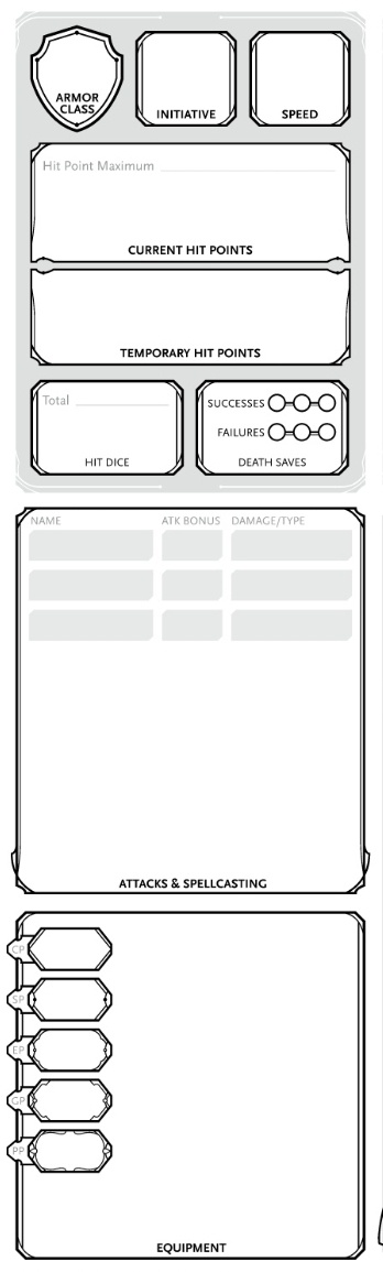 The center part of the 5e character sheet
