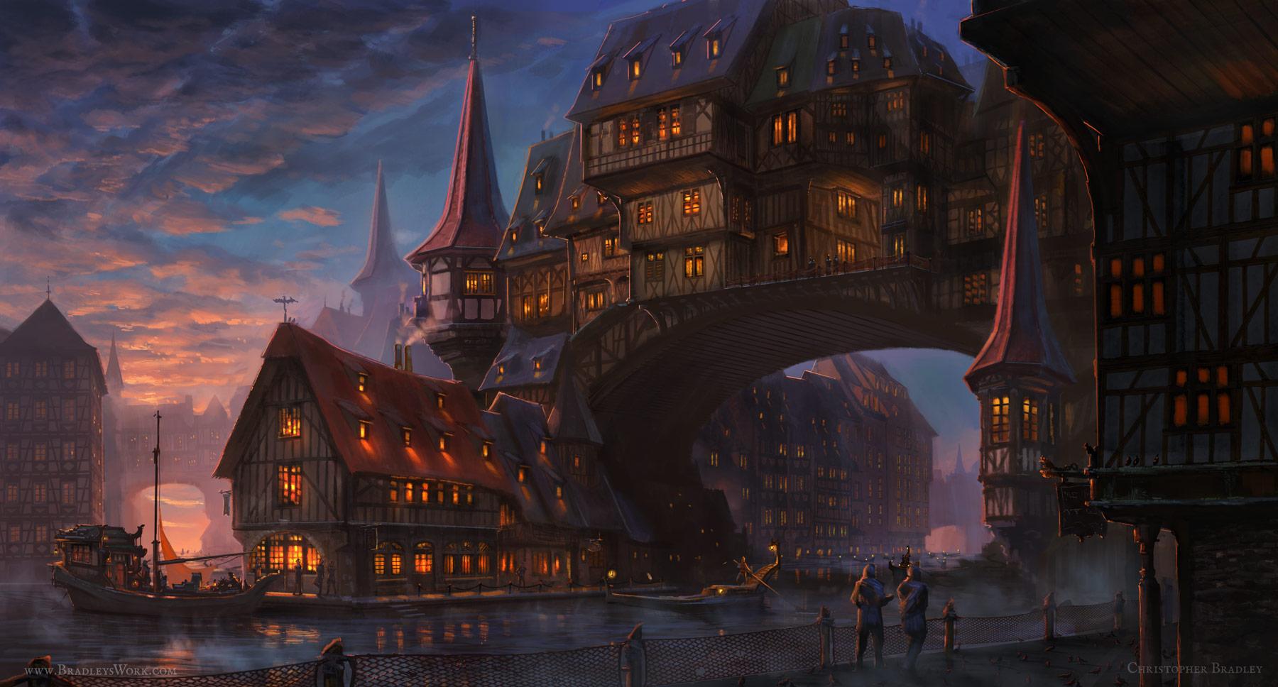 D&D city over a river
