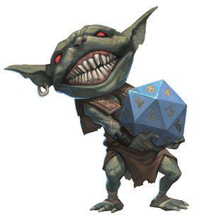 Goblin holding a d20 dice